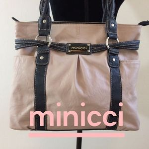 Minicci Tan and Dark Brown Tote/Shoulder Bag
